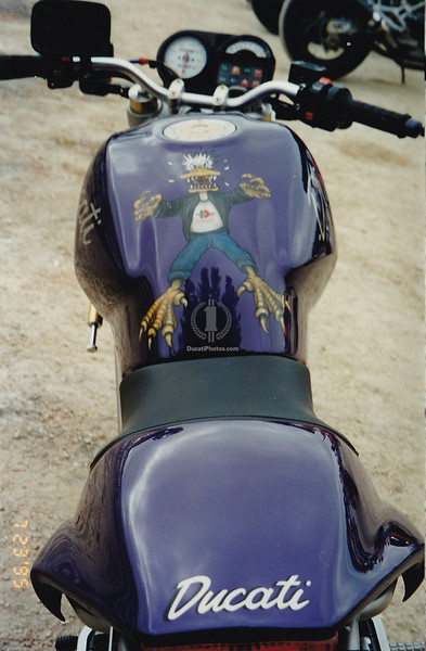 A Ducati of another color, any other color would draw a crowd all day.  A custom Monster in 1995 almost had to have come from Pro-Italia. It was a rare sighting