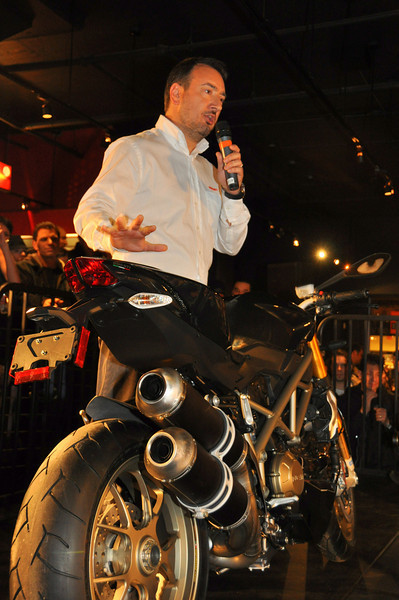 Michael Lock charms the crowd with the newest Ducati model
