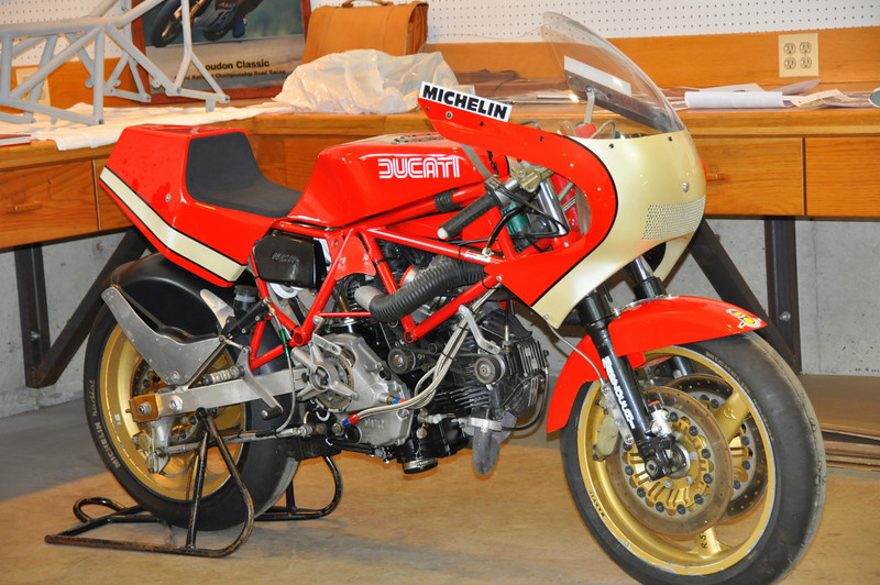 This one uses a frame built by Harris and was raced by Kurt Leibman, who was one of a number of racers who attended the event.  This bike now lives in Ralph Stechow's collection