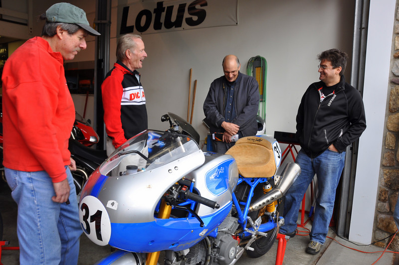 "Cook was reunited with ""New Blue #1"" the bike he presented to Greg Rathe at DucatiDayDaytona a few years back.  Greg brought New Blue, an F1 Mont Juich, an F1, a Pantah 500 and a TT2.  A lot of work but really appreciated by all"