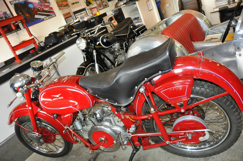 This Moto Guzzi and BMW were tucked in the corner, as was a rare and beautiful John Player Norton