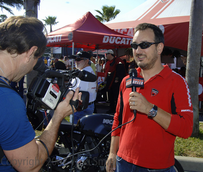 That's Michael Lock, CEO of Ducati North America giving SPEED TV a tour of the event
