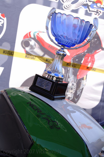 That's the Battle of the Twins trophy NCR won on Tuesday with the Ducati Millona. The NCR display was a popular stop to check out the exotic hardware.
