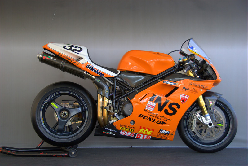 Douglas Frederick and Ann Cerdena's Factory Corse 996 GSE/INS British Superbike. Restoration by John Hackett, Coventry England