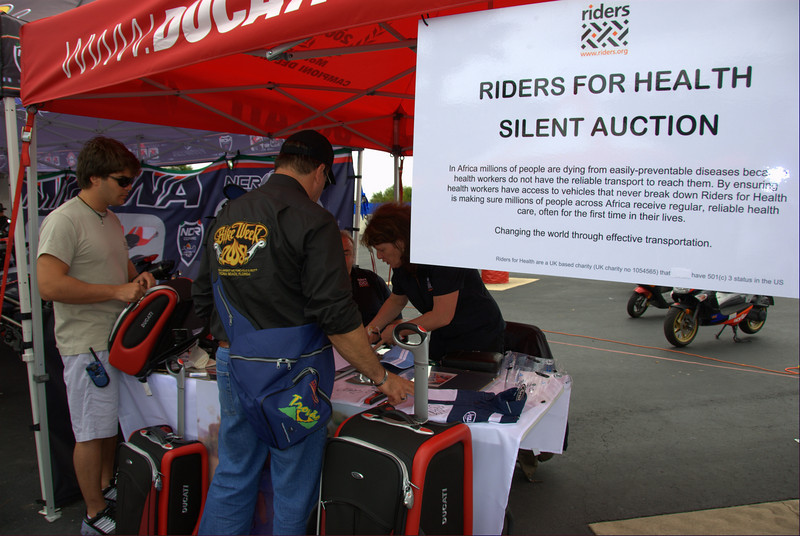 Riders for Health, Motogp and Ducati's official charity brought all sorts of great items - Tumi Ducati luggage, Rossi/Hayden/Edwards/Melandri signed items. It was a great oppertunity to gt something cool and donate to a great cause