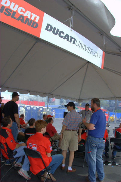 "For 2008, Ducati University featured Bruce Myers ""Talking Heads"" and Pirelli and Ohlins on track chassis tuning."
