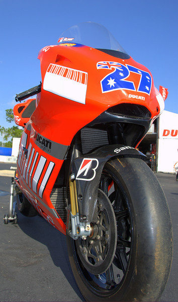 That's the Casey Stoner Motogp Ducati. It was on display in the hospitality tent.