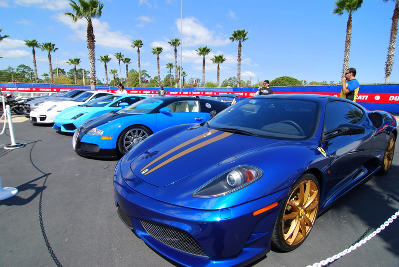 Friday am.  8:30 we need to be on the Island to greet the Supercar display rolling in. All these cars belong to one lucky (and incredibly generous) guy.  The lineup was a Bugatti Veyron, Aston Martin DBS, Nissan GTR, Lamborghini LP560, Ferrari Scuderia, 9FF Porsche GT2, a couple of 1098R's and a Desmosedici. Just incredible. Thanks again Nelson!