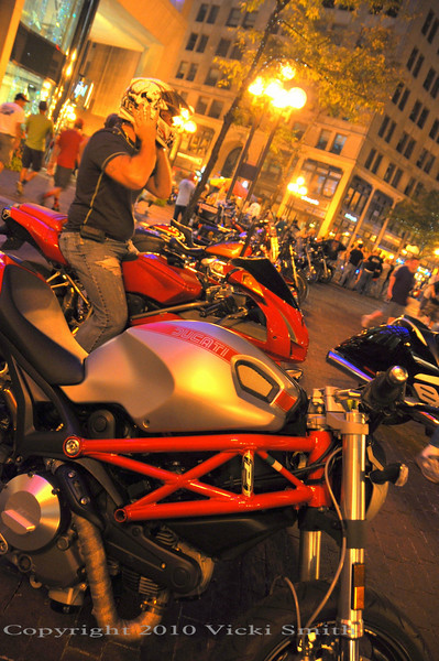 Indy transforms it's downtown as a mecca for motorcyclists. It renames the streets after the GP racers and starting on Thursday, each night there's a big motorcycle scene down on Meridian, which circles the monument in downtown.