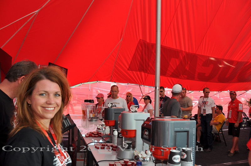Ducati hospitality is a VIP area for Ducati owners, it's all free and there's plenty to do.  Grab a coffee and a snack........