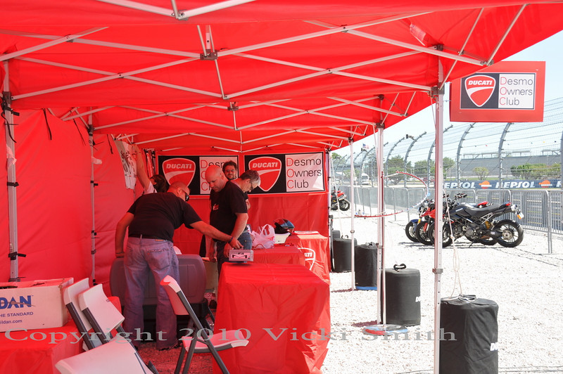 And the Desmo Owners Club area is set up