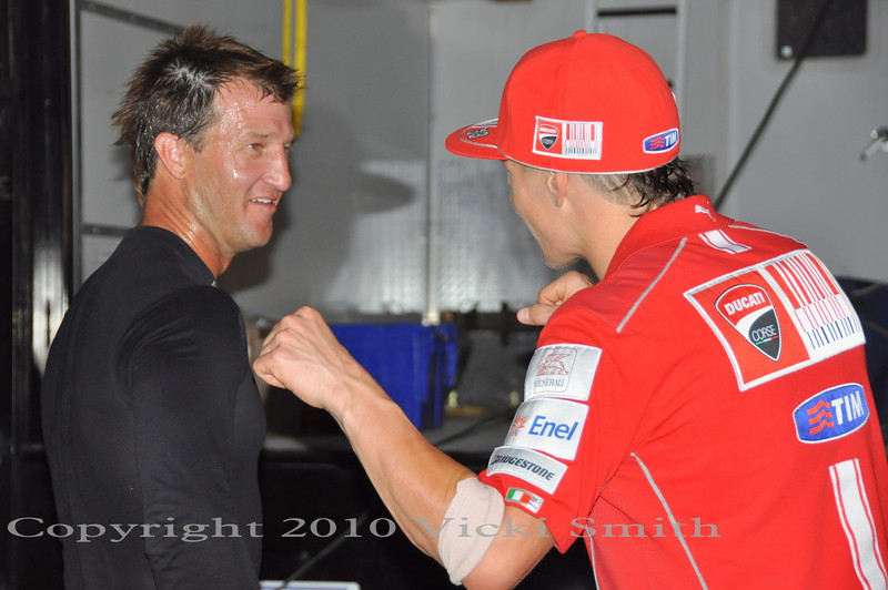 Nicky gave Larry some advice on setup and where the track was bumpy