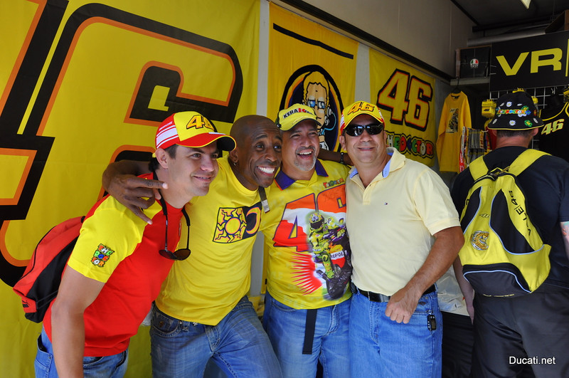 They were lined up out the door of the VR46 booth all day, every day.  Pretty sure that's Alonzo Bodden 2nd from left