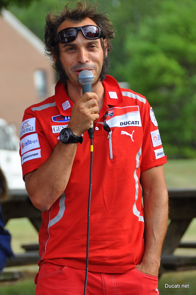 First stop, Indy speedway to set up the volunteer tickets, then off to Ducati Indy's open house in time to hear this guy, Vito Guareschi, Ducati Corse Team Manager and sometimes test rider, answer questions from the crowd. Pretty cool. Most people were talking about a bike night so then we ran to the hotel to pass the word
