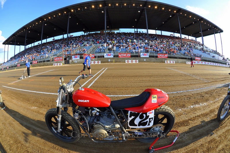 Saturday night during GP weekend means one thing, the Indy Mile.  Everybody goes, and I mean EVERYBODY.  That's Larry Pegram's Ducati Sport Classic waiting for it's shot at the main