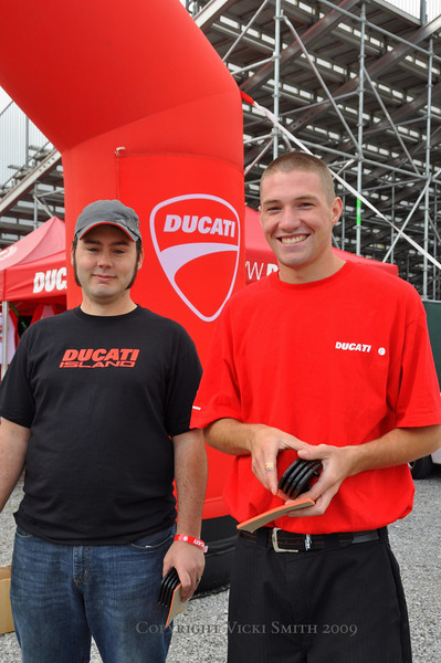 Cody Carson (on right) headed up the Team Ducatisti parking staff and kept things running smooth
