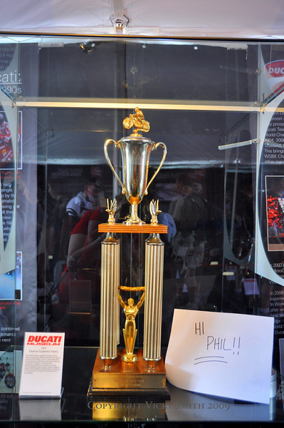 That's the 1977 Daytona Super Bike Race Trophy that Cook Neilson and Phil Schilling won.  Cook was here but Phil wasn't. So this photo (and a few coming up as well) are for you Phil. Indy GP isn't the same without you