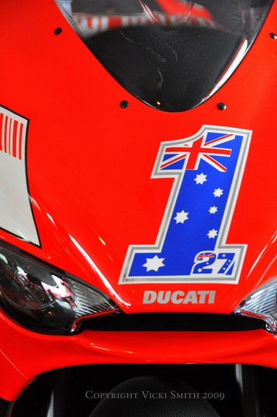 2008 Desmosedici RR Painted in Casey Stoner replica colors. On loan from Jim Dillard Jr.
