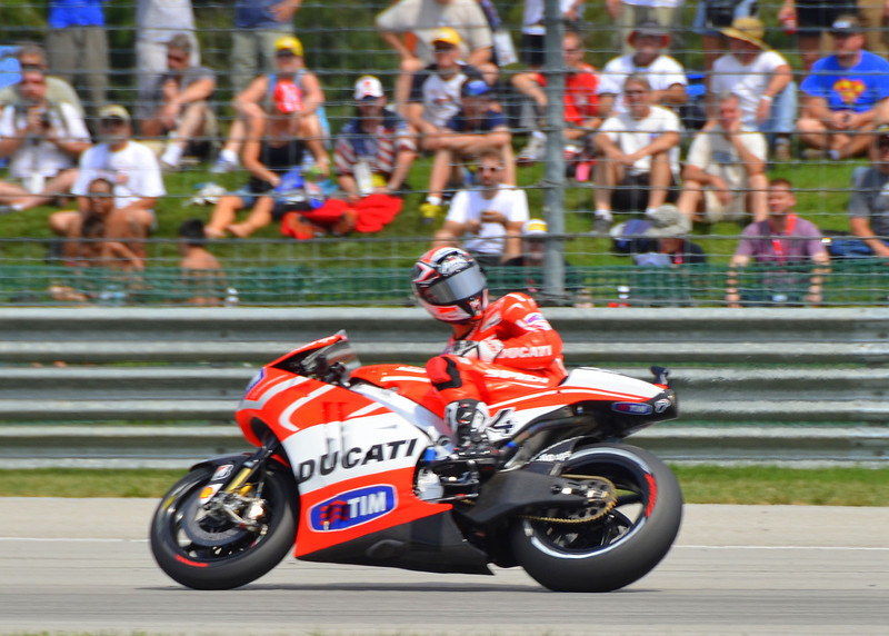 Qualifying. Make sure the track is clear, best place to do it? In front of the Ducati grandstand