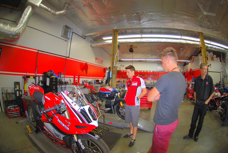 Ducati Indy has a great service department and the team stopped there first to check out the projects in the works