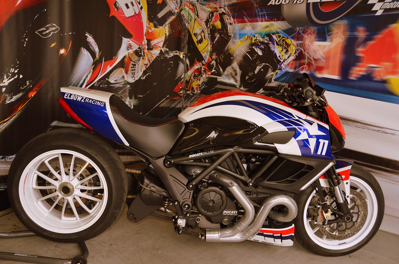 That's the AMS Diavel drag racer Ben Spies was riding on Thursday. Typical of AMS Ducati projects, it's a beauty.