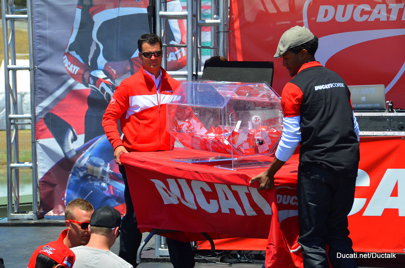 """The big moment is here - the winner of the """"watch the race from the Ducati Garage"""" contest is about to be picked"""