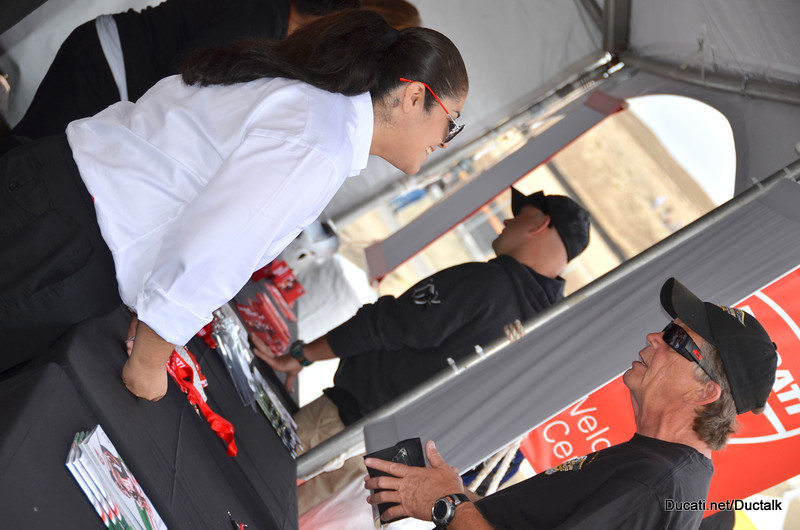 Friendly volunteers at the Ducati Island Welcome Center/Gear Check