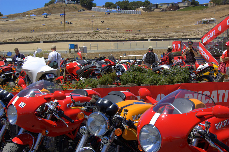 There's Ducati parking both on and off the island - first come first serve it fills up fast