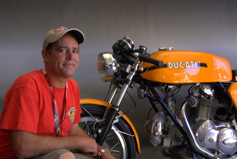 That's Brian Larrabure and his first bike, a 750 Sport that his Dad bought new. These day's he's a noted collector, known for his Ducati collection. Thanks Dad!
