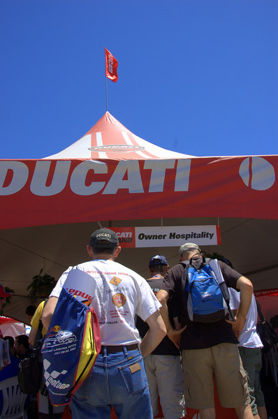 Ducati hospitality tent - Ducati owners have a place to get out of the sun, catch the track action on a live feed, grab a snack and a cold drink and meet other owners.