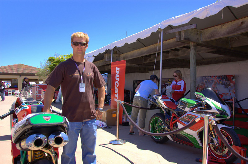 Larry Pegram came by to check out the Superbikes being loaded into the Concorso tent.