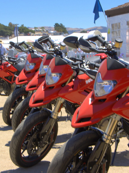 Cool seeing a bunch of Hypermotards all lined up, something new on the Island this year