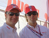 Ducati North America's Nick McCabe and Alex Dunston in the hospitality tent on Sunday.