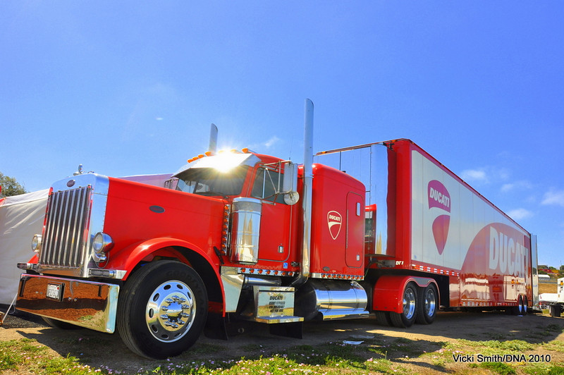 It starts with the Duc Truck, all shined up and ready to rock. Ducati Island starts when this rolls in.
