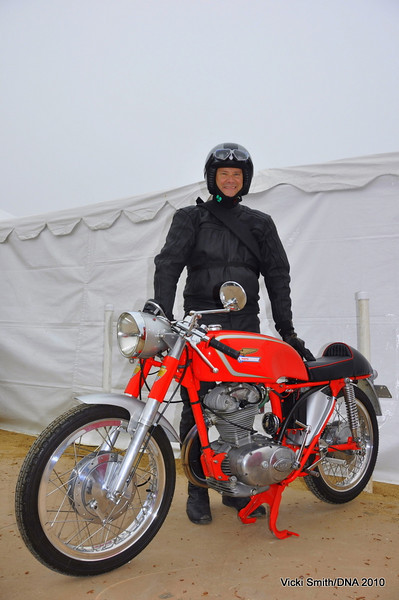 Dan Bockmier and his Ducati 250 single rolled in early every morning