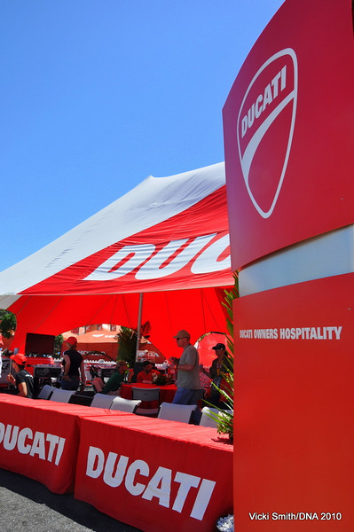 First stop, Hospitality. It's the heart of the Island.  If you are a Ducati Owner this is your home base for the weekend and it's all free. Once you have your armband you can head to gear check.....