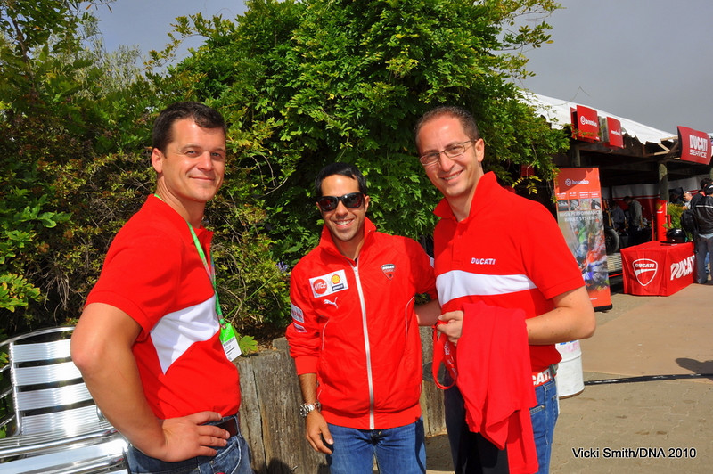 "Laguna Seca Ducati Island is pretty much an ""all hands on deck"" weekend so it's a great place to meet the DNA staff. From left Jeffrey Schuessler, John Canton and Stefano Sbettega"