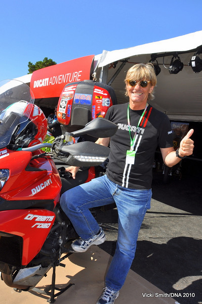 """That's Emerson Gattafoni, part of the Ducati """"travel team"""" he and his wife are traveling around the world on Multistrada's number 1 and 2. (and here I thought I had the best job in the world!)"""