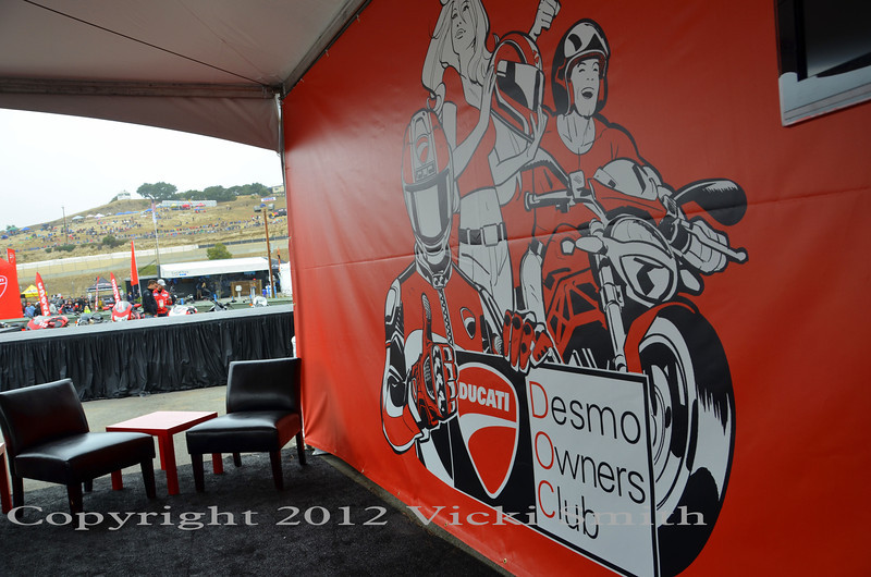 Desmo Owners Club area, sofas, live race feed, nice!