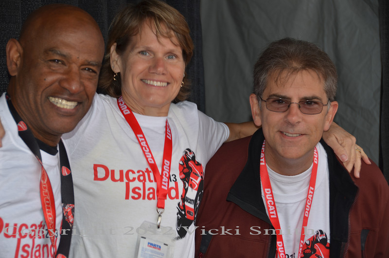 Some of the 80+ Ducati owners that help staff the island every year. These friendly faces are the real deal