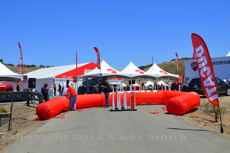 Setting up the Island on Thursday. That's the famous Ducati Island arch