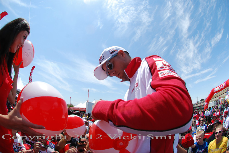 Ben Spies, Team Pramac rider, on a health leave until Indy he still came to the Island for some Ducatisti love