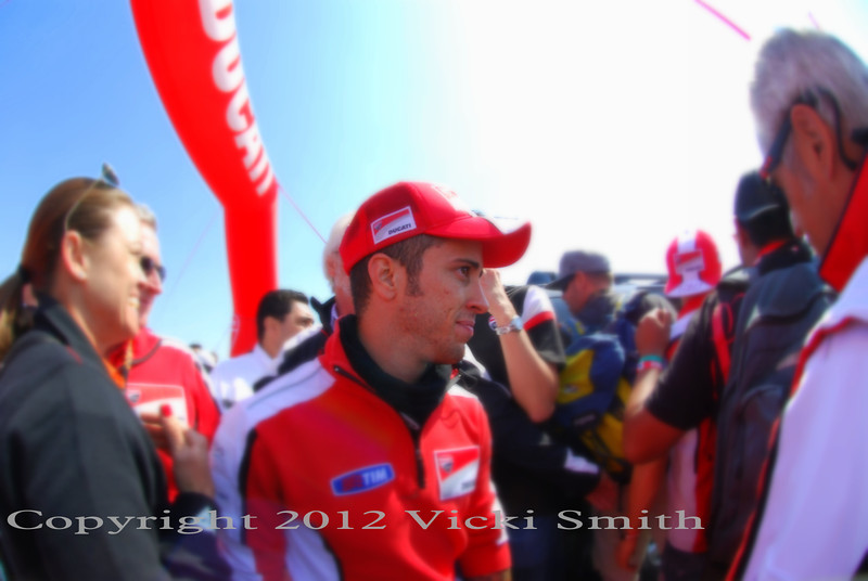 That's Andrea Dovizioso, the Ducati factory rider, on a visit with the Ducati fans on the island
