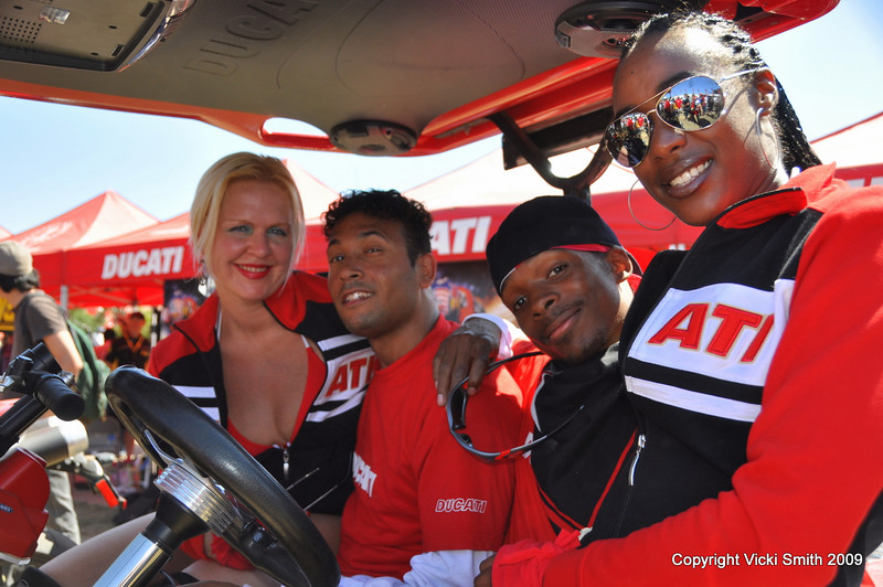 That's the Strong Pulse dance team on their first visit to Ducati Island. That's Kirstin, Skorpio, Daniel and Jameela