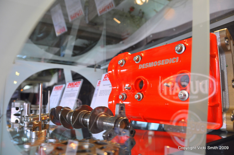 Like this Ducati Desmosedici prototype cylinder head painted in the color the team uses at Qatar to reflect under the night lights