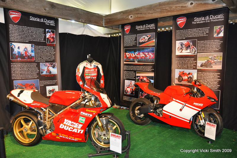 "The panels on the walls were a historic timeline from 1926 to current which the bikes ""illustrated""<br /> That's the 996R Corse that Ben Bostrom rode to 6 victorys in the 2001 SBK season"