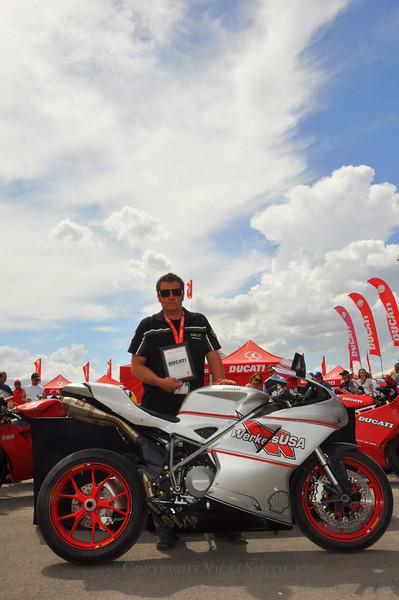 "Shawn takes home a backpack full of great stuff as well as a new set Pirelli tires. Next round is Laguna Seca, for more details of the contest and it's great prizes see  <a href=""http://www.Ducatiusa.com"">http://www.Ducatiusa.com</a>"