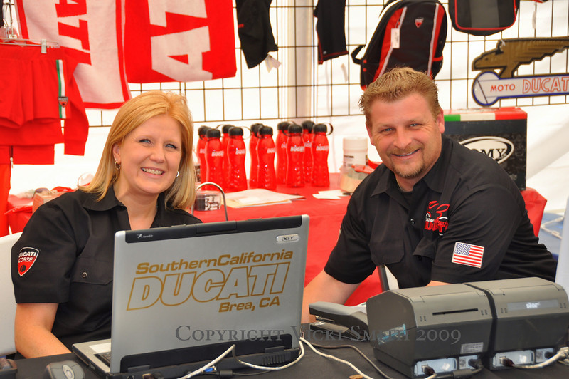 Southern California Ducati has set up a full Ducati apparel store. Business was steady