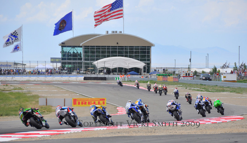 It's race time.  World Superbike fields are large and the spectacle of it all is breathtaking