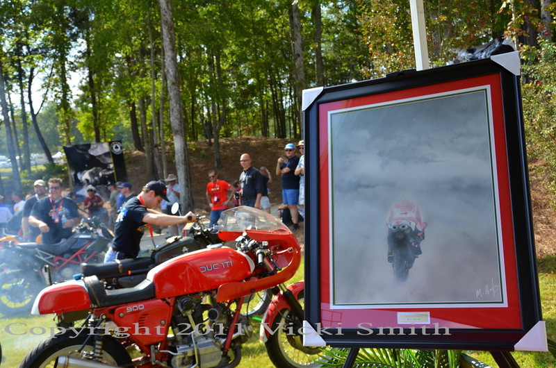 Another Mark Hoyt art piece. We also had Ducati themed jewelry, book readings by a Ducati racing author, and the TT tent was decorated with my photos of Ducati's